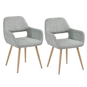 MEUBLE COSY Lot de 2 Chaise salle a manger Fauteuil Salon de style scandinave gris , gris /56x56x78cm 2.0PCS