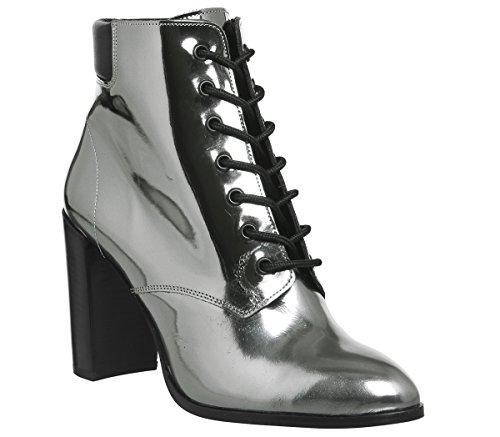 Attitude Block Boots Up Metallic Office Pewter Heel Lace pRxgqqnd