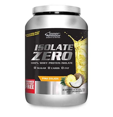 Inner Armour Isolate Zero All Natural Pina Colada Flavor | 100% Whey Protein Isolate| Organic Protein Powder| Pre Workout Powder for Men & Women | All Natural Powder Protein | 1.6 Pounds -