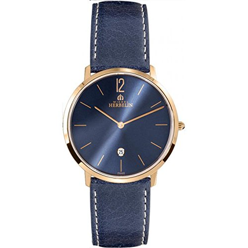 Men's Watch Michel Herbelin - 19515/PR15BL - CITY - Date - Leather strap - Navy Blue and Rose Gold Plated
