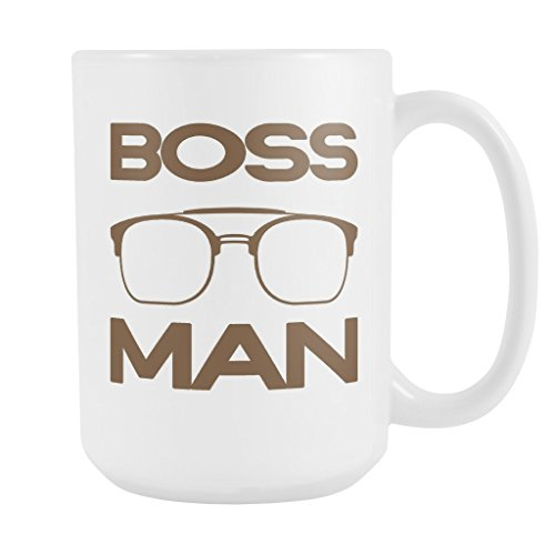 BOSS MAN with Glasses Coffee Mug, PERFECT PERSONALIZED MEN GIFT for Boss Husband Boyfriend Father Son Guy! Attractive Durable White Ceramic Mug STYLE - With Plus Logo Sign Sunglasses