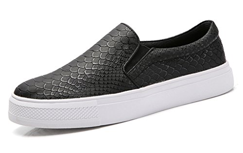 SUNROLAN Liz Women's Microfiber Leather Snake Print Slip On Loafer Flat Shoes Fashion Sneakers