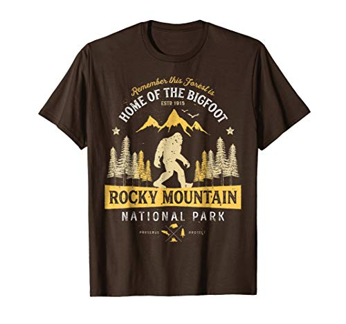 Mens Rocky Mountain National Park Shirt Vintage Colorado Bigfoot 2XL Brown ()