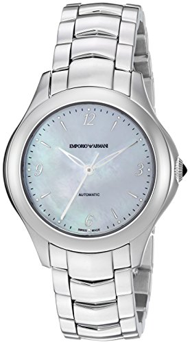 Emporio Armani Swiss Made Women's Esedra Lady Auto Watch Swiss-Automatic Stainless-Steel Strap, Silver, 14 (Model: ARS8550)
