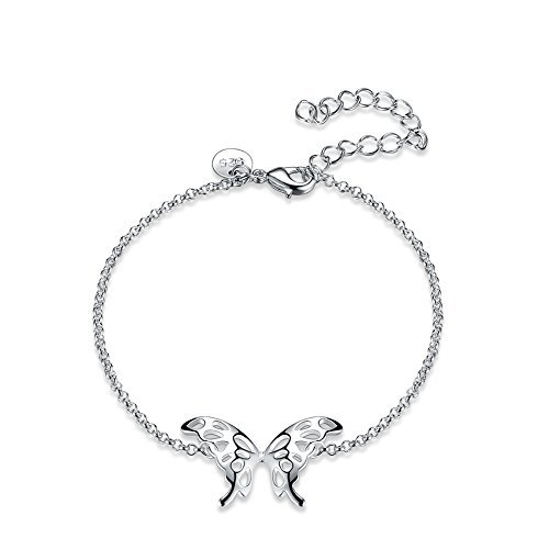 Mother`s Day Gifst Butterfly Bracelet Dangle Dragonfly Charm Adjustable Link Chain Bracelet Bangle (Butterfly-7)