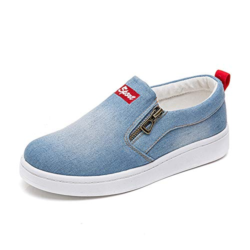 Another Summer Women's Fashion Casual Denim Canvas Shoes Zipper Driving Loafers Light Blue