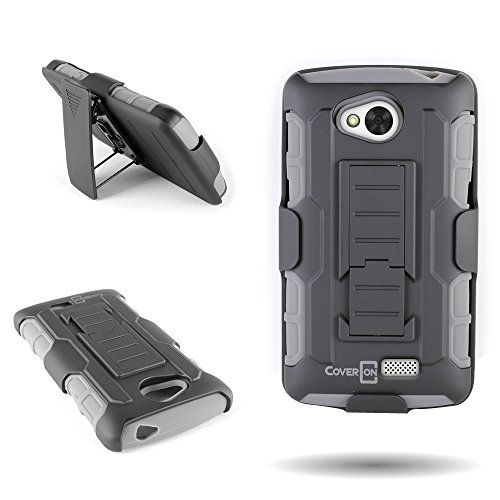 For LG Tribute / Transpyre / Optimus F60 Case, by CoverON Dual Layered Belt Clip Holster With Kickstand Combo Case (Titan Explorer) for LG Tribute Transpyre Optimus F60 - Gray + Black