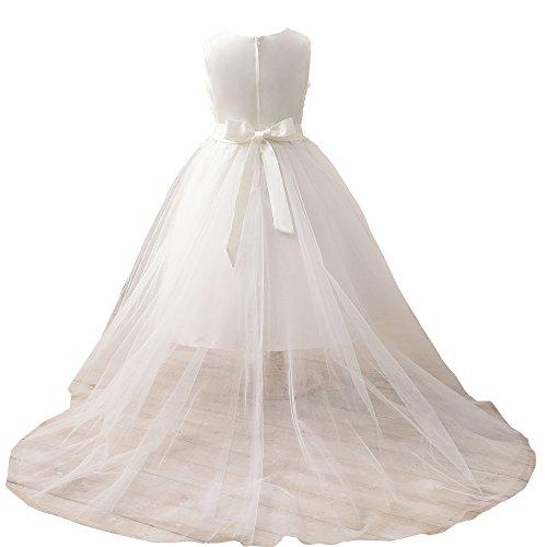 Zug Perlen Erosebridal Applique mit Spitze Partykleider Blumenmädchenkleider qvRYH
