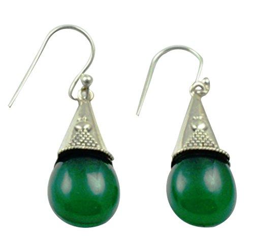 Onyx Earrings Green (Lovegem Genuine Green Onyx EARRINGS 925 Sterling Silver, 40mm, AE2154)