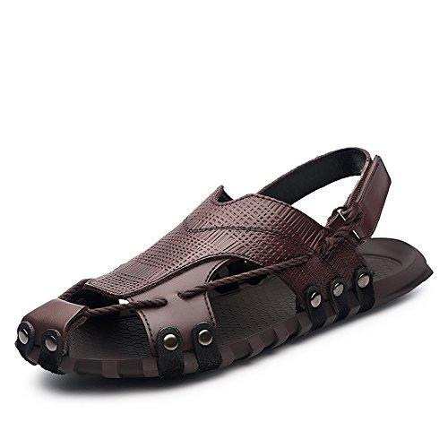 da all'aperto da scarpe da Sandali sportivi Brown Sandali spiaggia pelle in uomo pescatore da Sandali estivi spiaggia ZUOqH