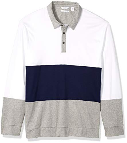 Calvin Klein Men's Long Sleeve Liquid Touch Polo, Striped Blue, - Calvin Klein Shirt Striped Polo