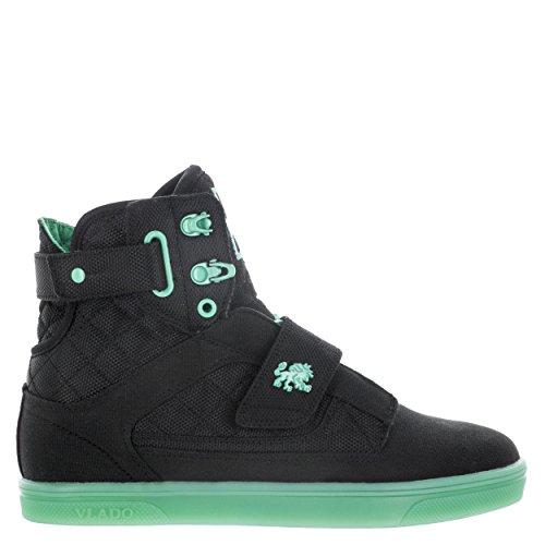 Vlado Schoenen Damesatlas Metallic Pu Leer Goud / Wit Hoge Sneaker Zwart Mint