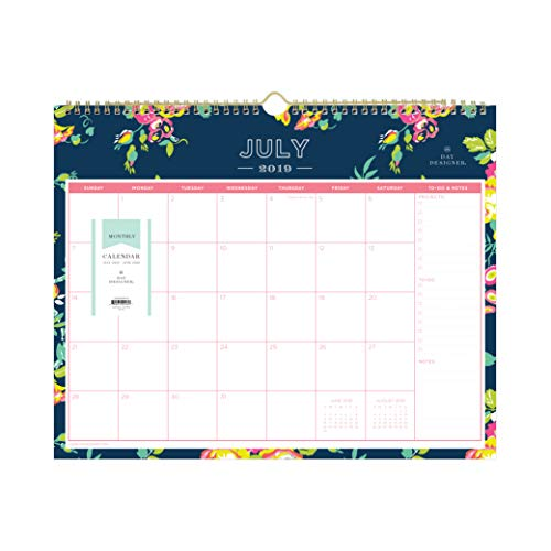 Day Designer for Blue Sky 2019-2020 Academic Year Monthly Wall Calendar, Twin Wire Binding, 15 x 12, Peyton Navy