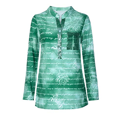 TUSANG Women Tees Plus Size Loose Sequins Print Stand Neck Blouse Pullover Tops Shirt Slim Fit Comfy Tunic(Green,US-10/CN-XL)