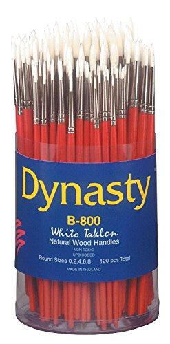 Dynasty B-800 Cylinder White Taklon Short Wood Handle Paint Brush Set, Assorted Size, Natural, Set of 120