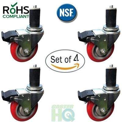 4 Casters Locking Commercial (CasterHQ- 4 INCH CASTER WHEEL SET FOR COMMERCIAL KITCHEN PREP TABLES, TOTAL LOCKING CASTERS)
