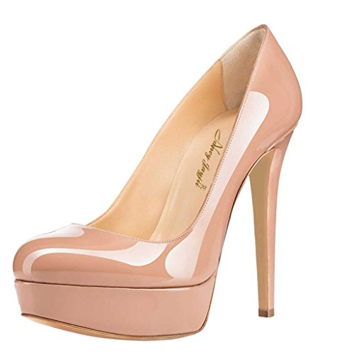 Nancy Jayjii Leather Shoes for Women Platform High Heel Slip-on Round Toe Prom Pumps for Sexy Dress 8 (Nude)