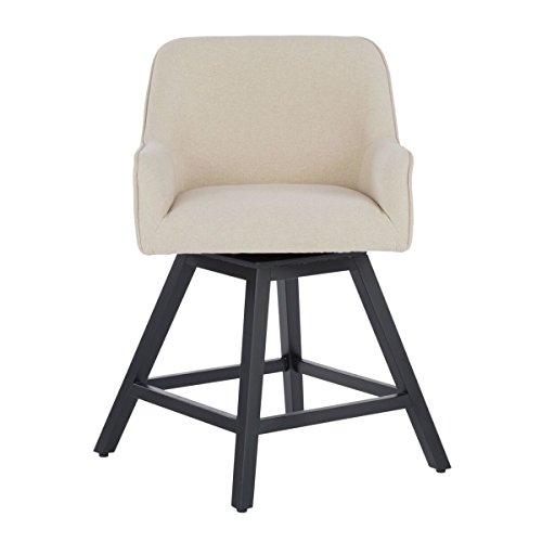Studio Designs Home 70151 Contemporary Spire Swivel Upholstered Counter Stool, Sand (Upholstered Stool Swivel)