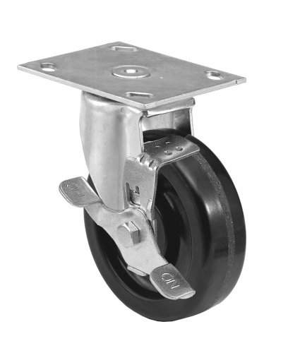 ter Plate Caster, Swivel with Strap Brake, Dust Cover, Phenolic Wheel, Roller Bearing, 450 lbs Capacity, 4