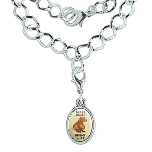 GRAPHICS & MORE Guess What? Wiener Dog Butt Dachshund Funny Silver Plated Bracelet with Antiqued Oval ()