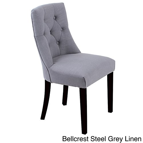 Metro Shop Bellcrest Button-tufted Upholstered Dining Chairs (Set of 2)-Bellcrest Steel Grey Linen Chairs (Set of 2)