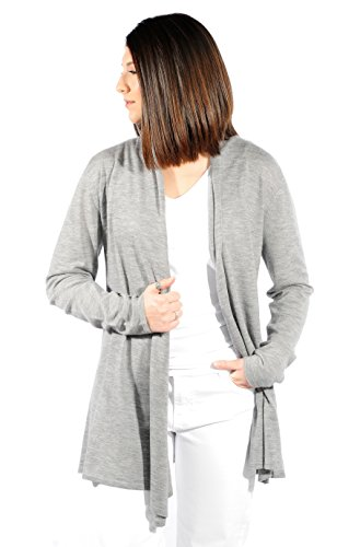 Gigi Reaume 100% Cashmere Women's Sweater, Open Front Long Cardigan, Swing Style, Ultra Lightweight (Medium, Grey Heather)