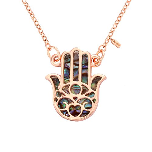MANZHEN Good Luck Protection Abalone Paua Shell Hamsa Hand Charm Necklace (Rose Gold) ()