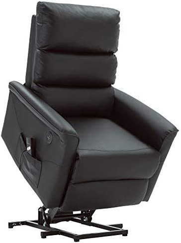 Mcombo Electric Power Lift Recliner Chair Sofa for Elderly, 3 Positions, 2 Side Pockets, USB Ports, Faux Leather 7285 Black