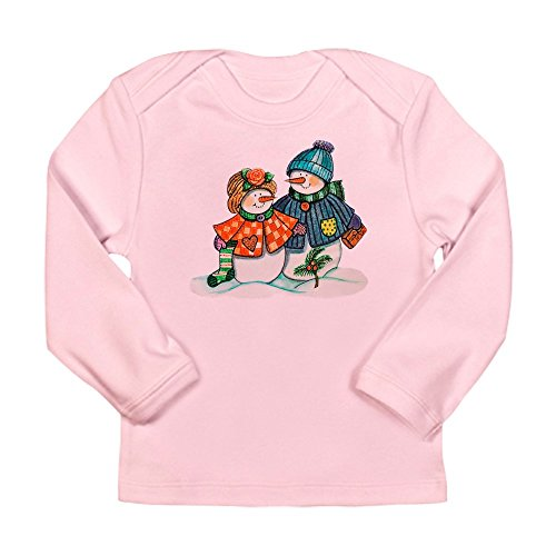 - Royal Lion Long Sleeve Infant T-Shirt Christmas Snow Couple Snow Men - Petal Pink, 3 to 6 Months