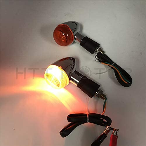 -2X Universal Motorcycle Turn Signal Indicators Blinker Amber Light Chrome Metal BC XHT