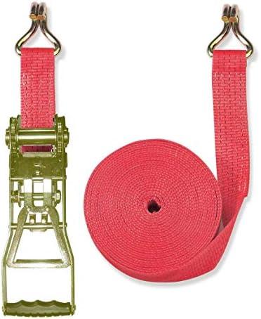 Braun Spanngurt 5000 daN, zweiteilig, für Profis nach DIN EN 12195-2, Farbe rot, 10 m Länge, 50 mm Bandbreite, mit Langhebel-Ratsche und Spitzhaken.
