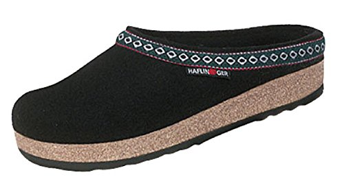 Haflinger GZ Classic Grizzly Clog Shoes Black (42)
