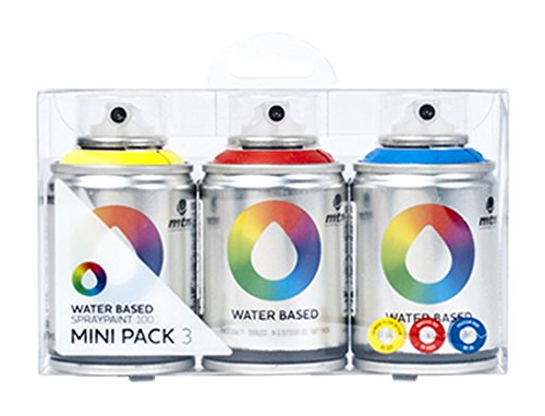 Montana MTN Colors - Water Based Spray Paint Mini Pack - 3 x 100ml Cans (Blue, Red, Yellow)