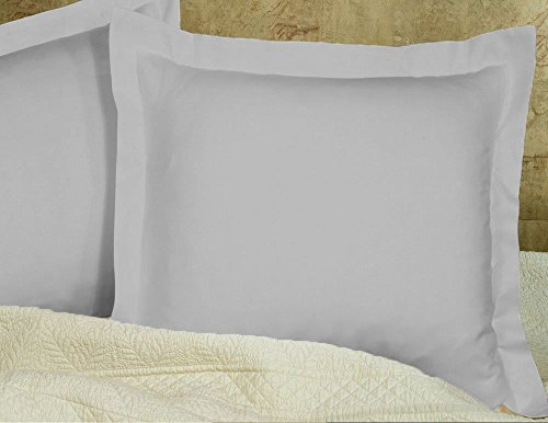 MP Linen Hotel Quality 550 Thraed Count 100% Egyptian Cotton Two Pieces Pillow Sham Euro/European 28'' x 28'' Size, Silver Grey Solid