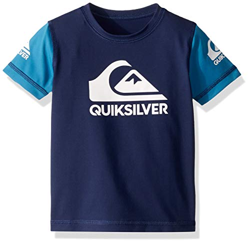 Quiksilver Big Heats ON Short Sleeve BOY Rashguard UPF 50+ Sun Protection, Medieval Blue, 5
