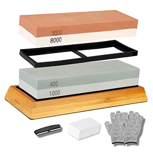 Hakkin Sharpening Stone Set, 2 in 1 Whetstone for Professional Sharp Knives Grit 400/1000 3000/8000 with Non-Slip Bamboo Base, Silicon Holder, Angle Guide, Fixing Stone & Cut-Resistant Gloves