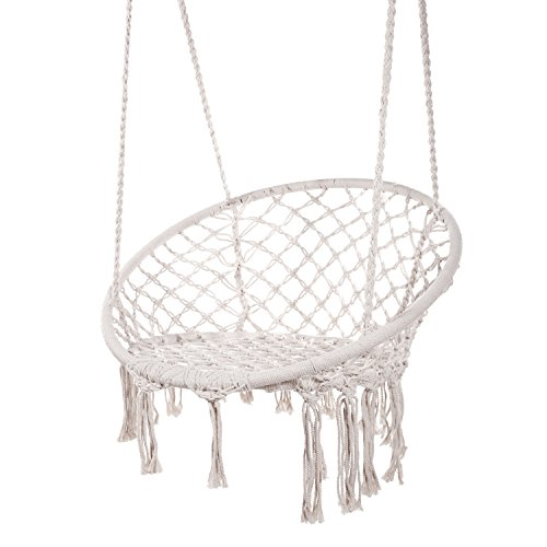 Techcell Hammock Chair Macrame Swing,Cotton Hanging Macrame Hammock Swing Chair Ideal for Indoor, Outdoor, Home,Bedroom, Patio, Deck, Yard, Garden (White)