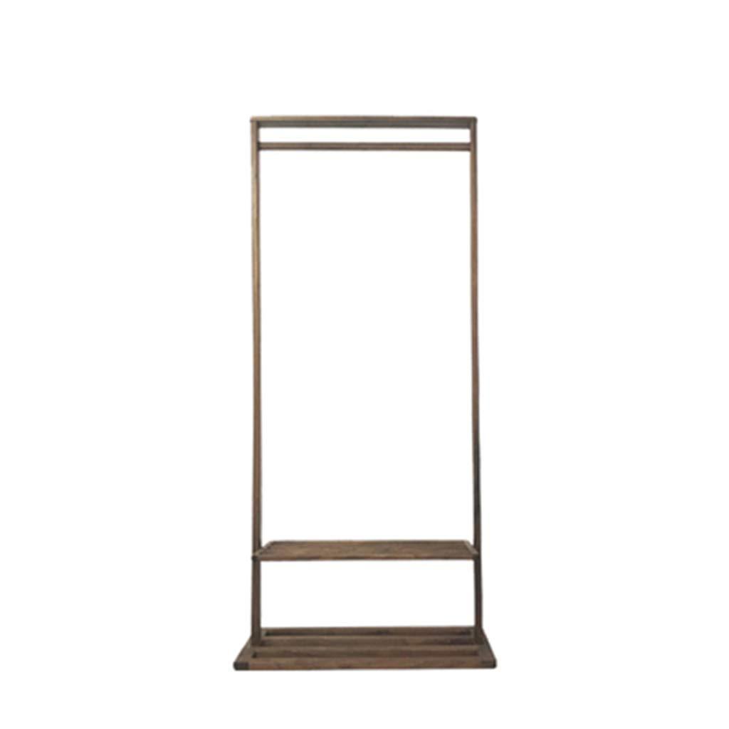 DWW Einfacher nordischer moderner Fußboden-Multifunktionswalnuss-Reine Feste hölzerne Schlafzimmeraufhängergarderobe (Farbe : Walnut Color - 1.7 m)