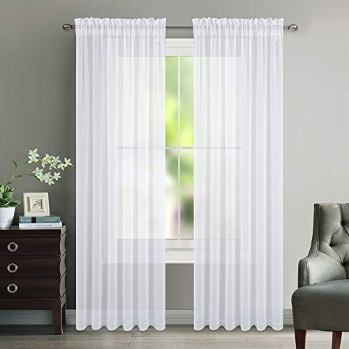 NICETOWN Sheer Curtains for Hall Room - Faux Linen Sheer Curtains 84 inches Long for Patio Sliding Glass Door (White, 1 Pair, 55 Wide Per Panel)