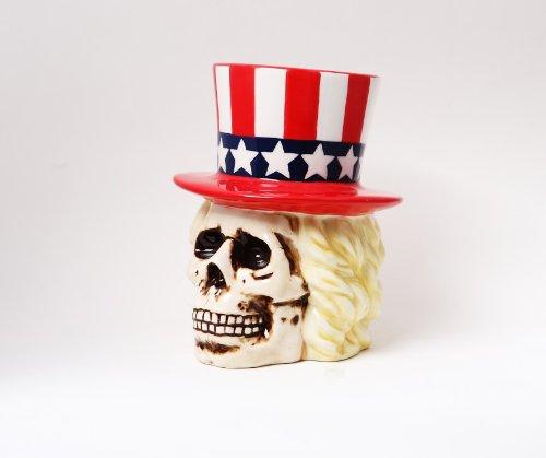 PTC Uncle Sam Skeleton Skull Piggy Bank Ceramic Statue Figurine, 8