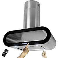 AKDY 36 Island Mount Stainless Steel Black Trim Dual Touch Panel Kitchen Range Hood Cooking Fan w/ Remote