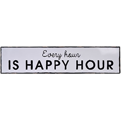 - NIKKY HOME Every Happy Hour Vintage Decor Wall Bar Sign, 36.02 x 0.31 x 8.07 Inches, White