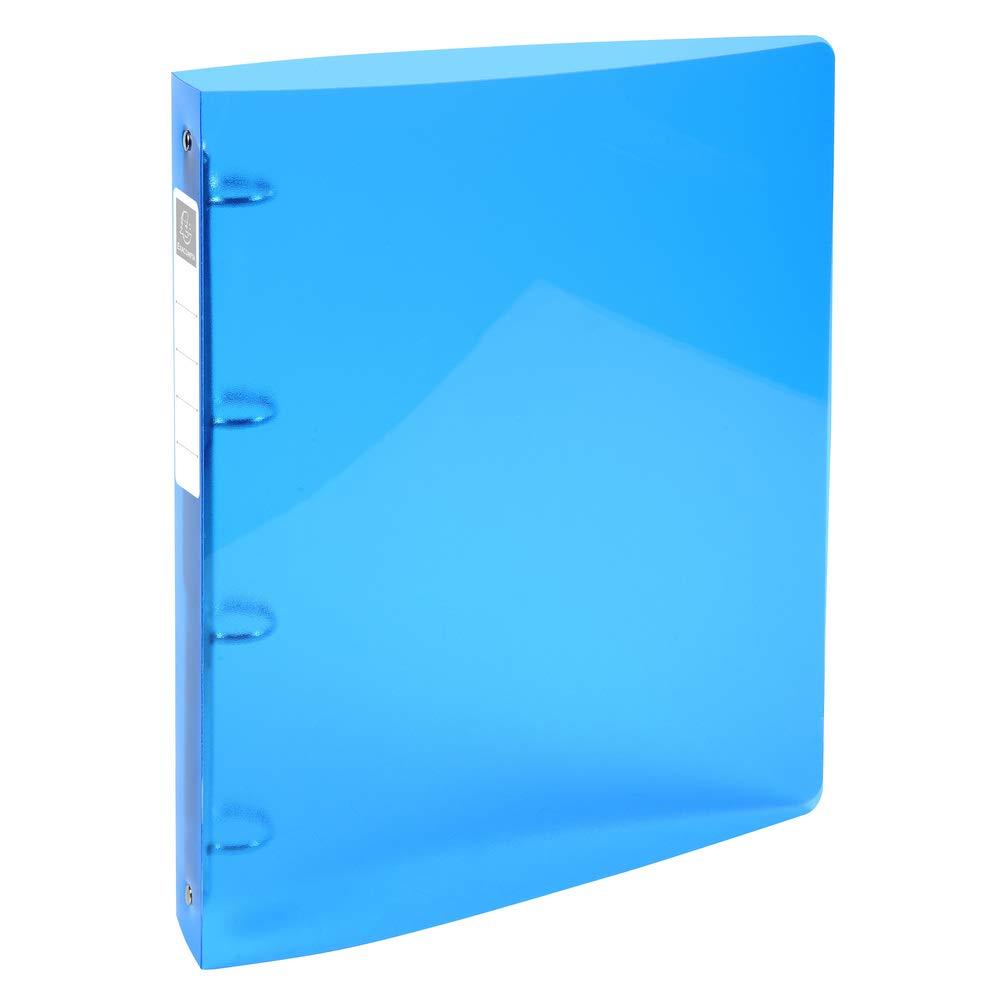 Exacompta IDERAMA 51772E Classeur en polypro transparent 4 anneaux de 3 cm dos de 4 cm 32 x 26,8 cm Couverture Bleu Clair