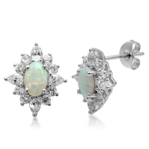 Jewelili Sterling Silver 6x4mm Oval Created Opal alongwith 3x2mm Pear and 1.75mm Round Created White Sapphire Blooming Earrings