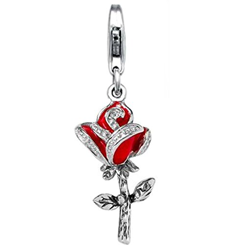 Jovana Sterling Silver Links Charm Red Rose with Red Enamel lobster (Enamel Clasp Charm)