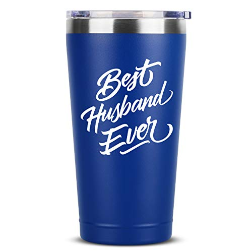 Best Husband Ever | 16 oz Blue Insulated Stainless Steel Tumbler w/Lid Mug | Birthday Valentines Fathers Day Christmas Gift Ideas from Wife | Funny Present Idea for Groom Him | Unique Gifts Presents (Day For Valentines Husband Presents)