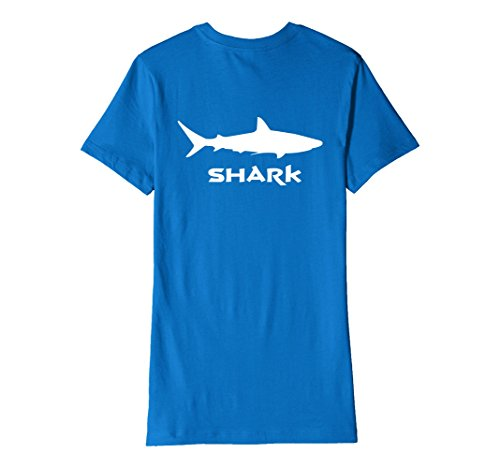 Womens Great White Shark T Shirt Back Print Medium Royal Blue
