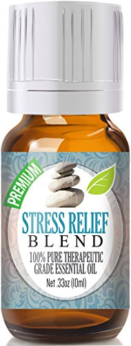 Healing Solutions Stress Relief Blend 100% Pure, Best Therapeutic Grade Essential Oil - 10ml - Cananga, Geranium, Lemongrass and Sweet Orange