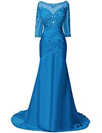 Women Mother Formal Evening Prom Dresses With Half Sleeves