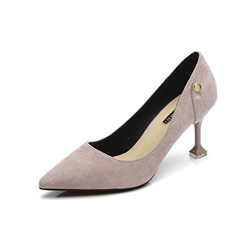 Ajunr Moda/elegante/Transpirable/Sandalias Una multa con 7cm Los tacones altos La ocupación Hebilla Un gato con todos-match Los zapatos Los zapatos Gris ,37 36